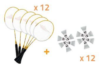 Afbeelding van Set: 12 Badminton Rackets JRB600 + 6 pluimpjes
