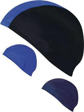 Afbeelding van badmuts - polyester - blauw/wit